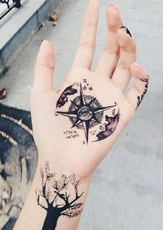 The Best Compass Tattoo Designs, Ideas and Images with meaning and drawings. Compass tattoos inspirations are beautiful for the forearm, wrist or back. Compass Tattoo Meaning, Compass Tattoo Design, Tattoos With Meaning, Hand Tattoos, Body Art Tattoos, Girl Tattoos, Octopus Tattoos, Star Tattoos, Tattoo Girls