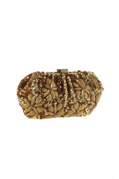 "Floral sequin and bead embellished clutch with interior slip pockets and a crossbody strap.  Approx. Measures:9"" W x 5"" L.  Gold Flowers Clutch by Santi. Bags - Clutches - Evening New York"