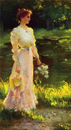By the lily pond, Charles Courtney Curran
