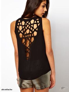 T10583 CELEB CRYSTAL LAZER OUT BACK TOP NEW 8-12 | Trade Me