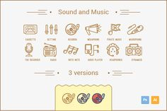 Check out Sound and Music icon. by crocolot on Creative Market