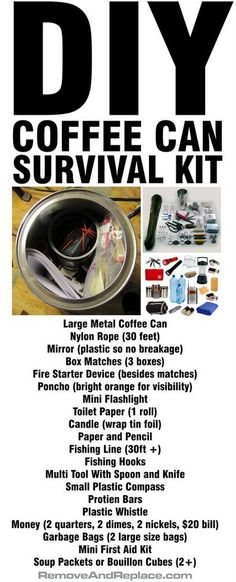 DIY Coffee Can Survival Kit – Perfect For Leaving In Your Car! – Survival Kits – Grandcrafter – DIY Christmas Ideas ♥ Homes Decoration Ideas Survival Life, Homestead Survival, Survival Food, Wilderness Survival, Camping Survival, Outdoor Survival, Survival Prepping, Survival Skills, Survival Gadgets