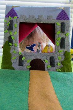 DIY - Felt puppet theater castle- free pattern!