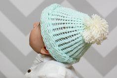 Baby Bobble Hat Knitting Loom Pattern #knitting #loom #hat #baby #beginner