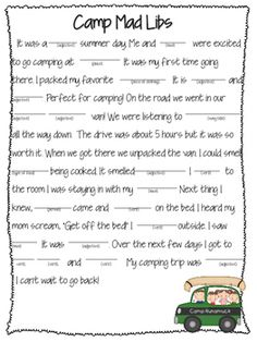 It is a graphic of Selective Camping Mad Libs Printable