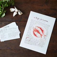 Triglie alla Livornese Illustrated Recipe by emikodavies on Etsy, $40.00