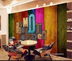 colorful wood letter photo walpaper for coffee shop restaurant-in Wallpapers fro. Coffee Shop Design, Cafe Design, Restaurant Interior Design, Cafe Interior, Wooden Name Letters, Home Remodel Costs, Home Decor Paintings, Cottage Interiors, Home Decor Kitchen