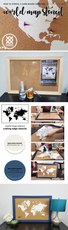Cutting Edge Stencils shares how to stencil a cork board using the World Map Wall Art Stencil. http://www.cuttingedgestencils.com/world-map-stencil-wall-decal-worlds-maps-stencils.html