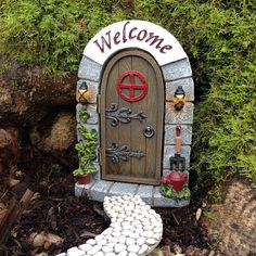 Fairy garden miniature door for fairy house with opening door Fairy Doors, Miniature Fairy Gardens, Fairies, Miniatures, Gardening, Handmade Gifts, Outdoor Decor, House, Etsy