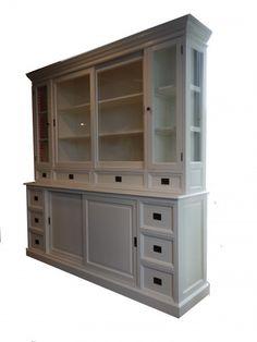 Großer Shabby Chic Landhaus Stil Schrank mit 4 Türen und 10 Schubladen - Buffetschrank - Schrank Esszimmer Landhausstil Möbel (Shabby Chic Möbel) Schränke