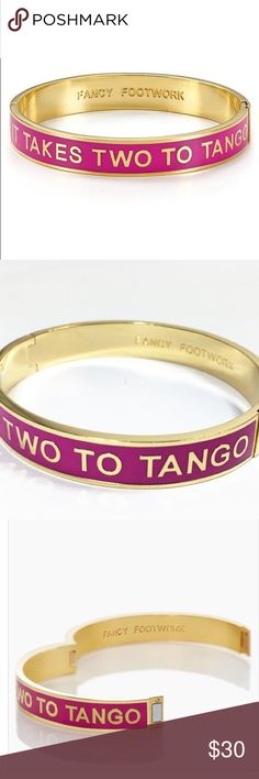 """Kate Spade ♠️ It Takes Two To Tango Idiom Bracelet To capture the bold spontaneous spirit of this bangle we delicately Printed one of our favorite turns of the phrase, """"fancy footwork"""" on the inside so that it might inspire you to put on your dancing shoes too! • shiny 12 karat gold plated metal and enamel • magnetic hinge enclosure • 2.25"""" h x 2"""" w • w 10 millimeters • in good but used condition with some minor wear kate spade Jewelry Bracelets"""