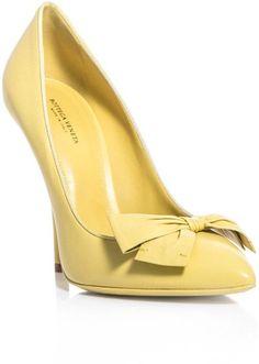 Bottega Veneta Bow Detail Court Shoes in Yellow Heeled Boots, Shoe Boots, Shoes Heels, Bow Heels, Suede Shoes, Jaune Orange, Mellow Yellow, Bright Yellow, Pastel Yellow