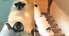 Ditch The Garland And Turn Your Staircase Into A Snowy Penguin Slide