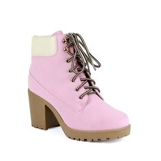 Reneeze OPO-01 Womens Lace-up Fashion Working Booties - PINK >>> Click image to review more details. #bootsforwomen