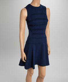Look what I found on #zulily! Navy Pleated Dropped-Waist Dress by Julia Jordan #zulilyfinds