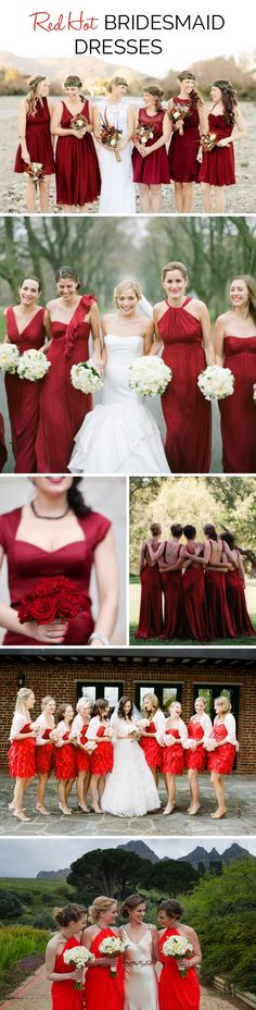 Red Bridesmaid Dresses | SouthBound Bride www.southboundbride.com/bridesmaid-boutique-red-hot  Credits: Benjamin & Elise // The McCartneys Photography // Laura Murray Photography // Elizabeth Messina // Adam Barnes // Lauren Kriedemann