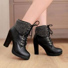 Chunky High Heel Lace Up Boots