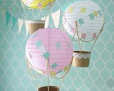 Kit de aire caliente globo decoración DIY whimsical, vivero Decor, decoración de ducha de bebé, bricolaje decoración de la boda, decoración del tema de viaje - juego de 3
