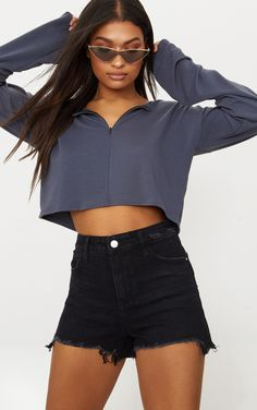 Black Split Hem Mom Short Denim shorts are essential for your vacay wardrobe and we are obsessing...