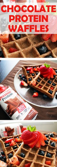 · 1 Premier Protein 11oz. Chocolate Shake · 1-1/2 cups whole wheat flour · 3-1/2 tsp baking powder · 2 tbsp cocoa powder · 1 tsp salt · 1/2 cup milk · 1 egg · 2 tbsp melted butter Mix all ingredients and pour into waffle maker, then enjoy!