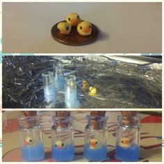 Polymer clay bottle charm with fimo liquid deco gel as the water