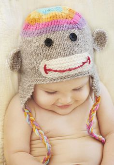 Rainbow Sock Monkey Hat by Alisha Bright. And the kid is adorable!
