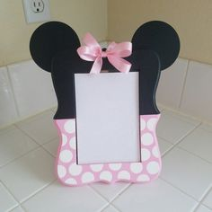 Minnie mouse inspired wood picture frame 5x7 picture frame