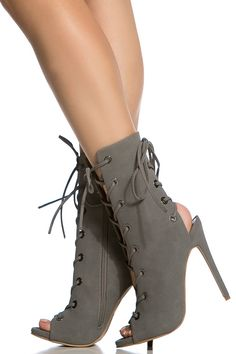 Grey Faux Suede Double Lace Up Open Toe Booties @ Cicihot Heel Shoes online store sales:Stiletto Heel Shoes,High Heel Pumps,Womens High Heel Shoes,Prom Shoes,Summer Shoes,Spring Shoes,Spool Heel,Womens Dress Shoes