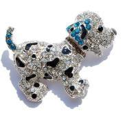 Lovely cute Alloy Rhinestone Dalmatian Puppy Dog Jewelry Pin Brooch Crystal - USA FREE SHIP