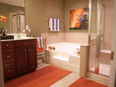 Orange Warmth - 20 Colorful Bathrooms From Rate My Space on HGTV