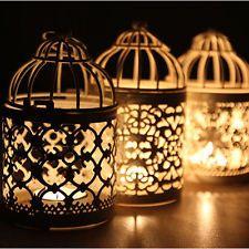 Metal Hollow Candle Holder Tealight Candlestick Hanging Lantern Bird Cage ITBU