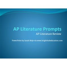 Prepare students for challenging AP exams with this review material for AP Literature and Composition. Includes two downloadable power points to aid in review.