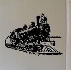 Locomotive Steam Engine Train Vinyl Wall Decal by mojographics Train Tattoo, Train Silhouette, Outline Images, Train Room, Train Art, Steam Engine, Steam Locomotive, Vinyl Wall Decals, Boy Room
