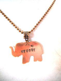 Metal Stamped VEGGIE Copper Elephant by TerriJeansAdornments, $24.00