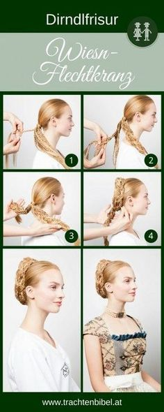 Trendy dirndl hairstyle: Wiesn braid wreath Looks great, but it& not that difficult! You only need to be able to braid this Wiesn braid 😉 Here is the step by step guide. Vintage Hairstyles, Pretty Hairstyles, Easy Hairstyles, Wedding Hairstyles, Renaissance Hairstyles, Historical Hairstyles, Wig Making, Human Hair Wigs, Beauty Bar