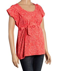 Another great find on #zulily! Coral & Cream Short-Sleeve Maternity Top #zulilyfinds