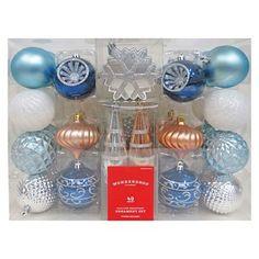 40ct Fashion Blue Silver Copper Shatterproof Christmas Ornament Set - Wondershop™