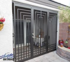 Elegant back of the house security - Escher Entryway - Yelp Window Grill Design Modern, Balcony Grill Design, Grill Door Design, Fence Design, Iron Gate Design, House Gate Design, Steel Security Doors, Wrought Iron Doors, Entrance Gates