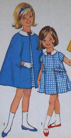 Vintage Girl's Cape and Dress Sewing Pattern - just because I remember my mom making this pattern (or one very much like it).