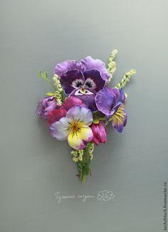 Брошь с анютиными глазками - темно-фиолетовый,анютины глазки,брошь с цветами