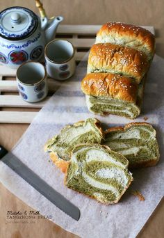 Matcha & Milk Tangzhong Bread Recipe | This pillowy soft bread made using the tangzhong method weaves together milk and matcha dough to create a lovely fluffy loaf!