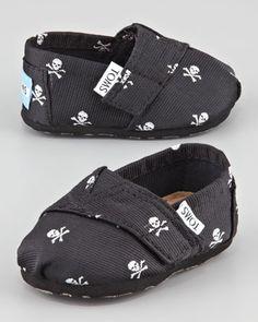 Tiny Skull-Print Slip-On Shoes, Black  by TOMS at Bergdorf Goodman.