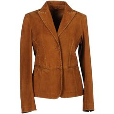 BENEDETTA NOVI Blazer (51.170 HUF) ❤ liked on Polyvore featuring outerwear, jackets, blazers, camel, tops, multi pocket jacket, long sleeve blazer, camel blazer, brown leather blazer and camel leather jacket