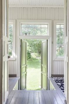 green and white cottage. Style At Home, Cottage Hallway, Tiny Cabins, White Cottage, Wooden House, White Houses, House Goals, Cottage Homes, House In The Woods
