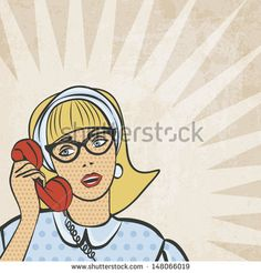 girl with telephone in retro style - vector illustration - stock vector