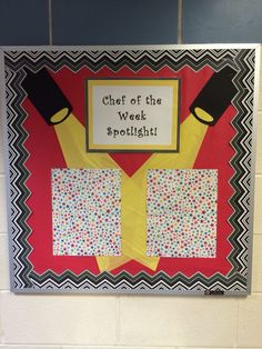 Chef of the week spotlight bulletin board. Picture of student on the left and fun facts on the right.
