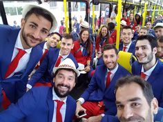 Los jugadores de la selección española, Ricky Rubio, Sergio Llul, Rudy Fernández y José Manuel Calderón en el autobús que les lleva al estadio de Maracaná.