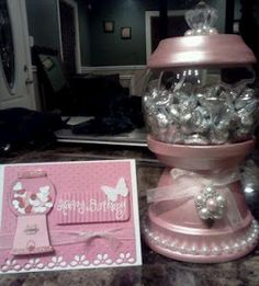 Card and gift matching! Now that is taking it to the max!  I love the pearls and the crystal knob.