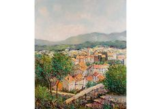 """Village in Provence by Y. Kaprielian from Carlisle Gallery on OKL (1645; retails 4000)  Oil painting of a charming village in the south of France. Signed """"Yetvart Kaprielian"""" (French, b. 1959). Unframed."""