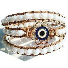 Veja nosso novo produto Pulseira de Couro Feminina Chanluu Olho Turco Branco! Se…